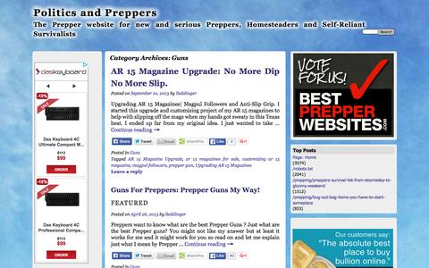 Screenshot of politicsandpreppers.com - Guns | Politics and Preppers - captured April 14, 2016