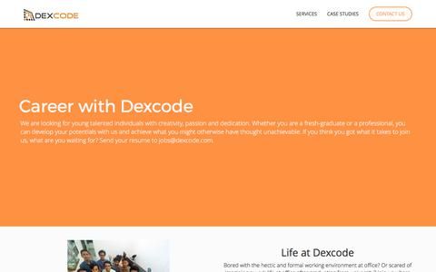 Screenshot of Jobs Page dexcode.com - Ruby on Rails and NodeJS Development and Outsourcing Services - captured Oct. 4, 2017