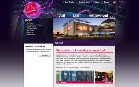 Screenshot of About Page slsc.org - About | Saint Louis Science Center - captured Sept. 25, 2014