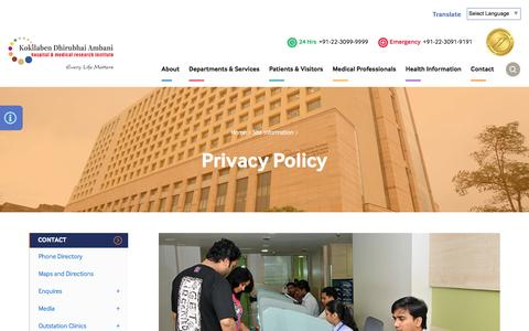 Screenshot of Privacy Page kokilabenhospital.com - Privacy Policy | Full Time Doctors Services | Top Hospital in Mumbai | Kokilaben Dhirubhai Ambani Hospital and Medical Research Institute - captured Nov. 27, 2016
