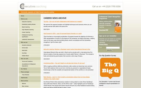 Screenshot of Jobs Page executive-coaching.co.uk - executive coaching - careers - news articles - captured Oct. 26, 2014