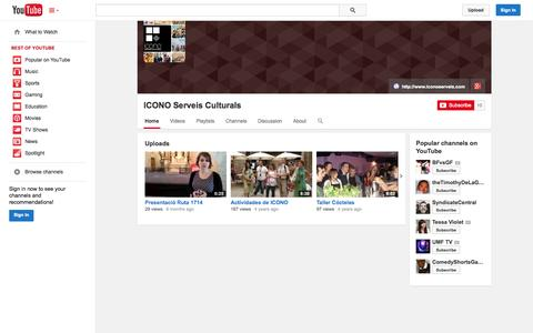 Screenshot of YouTube Page youtube.com - ICONO Serveis Culturals  - YouTube - captured Oct. 23, 2014