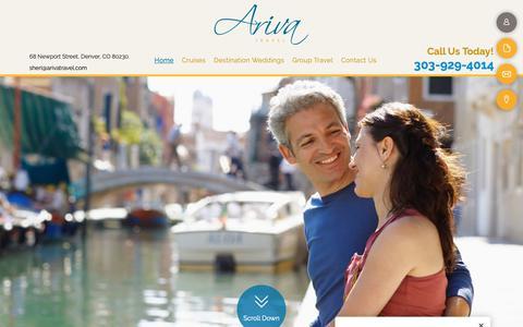 Screenshot of Home Page arivatravel.com - Vacation Packages & Travel Agency - Denver, CO - Ariva Travel - captured Nov. 6, 2018