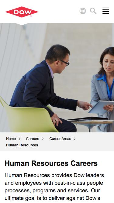 Screenshot of Jobs Page  dow.com - Human Resources Careers   Dow