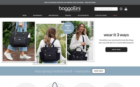 Screenshot of Home Page baggallini.com - travel bags for women | handbags & purses | baggallini® - captured April 13, 2019