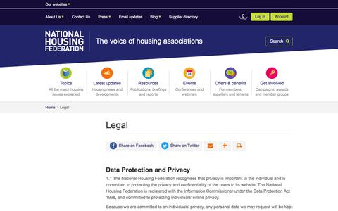 Screenshot of Terms Page housing.org.uk - Legal | National Housing Federation - captured Feb. 17, 2018