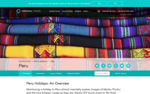Luxury Holidays Peru | Visit Machu Picchu & Historic Sites