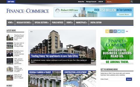 Screenshot of Home Page finance-commerce.com - Finance & Commerce - captured Sept. 25, 2014