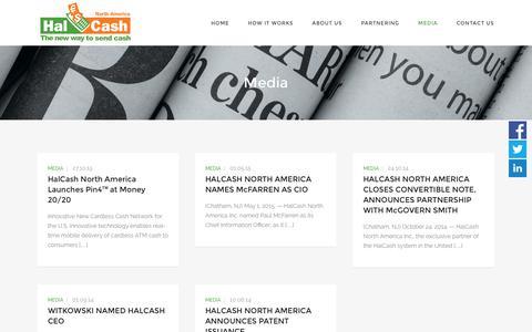 Screenshot of Press Page halcashusa.com - Media - HalCash North America - captured Jan. 24, 2016