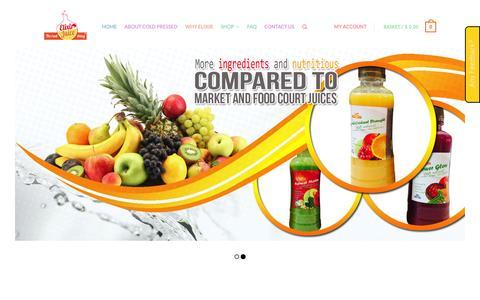 Screenshot of Home Page elixirjuicesg.com - Home - Elixirjuicesg (Singapore) - captured Oct. 2, 2014