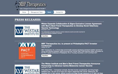 Screenshot of Press Page mbftherapeutics.com - MBF Therapeutics | News - captured Oct. 1, 2018