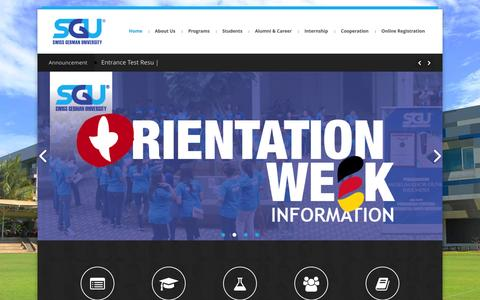 Screenshot of Home Page sgu.ac.id - Swiss German University | Your Gateway To Global Success - captured Aug. 12, 2015