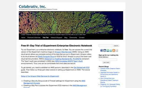 Screenshot of Trial Page colabrativ.com - Free 61-Day Trial of iExperiment Enterprise Electronic Notebook | Colabrativ, Inc. - captured Oct. 3, 2014
