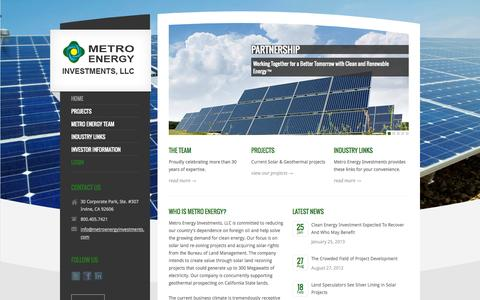 Screenshot of Home Page metroenergyinvestments.com - METRO ENERGY INVESTMENTS - captured Sept. 30, 2014