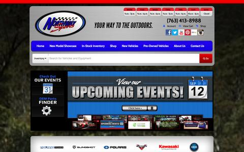 Screenshot of Home Page northwaysports.com - Polaris, Victory, Kawasaki, GEM | ATVs, Side x Sides, Snowmobiles, Motorcycles | Northway Sports East Bethel, MN (763) 413-8988 - captured Jan. 11, 2016