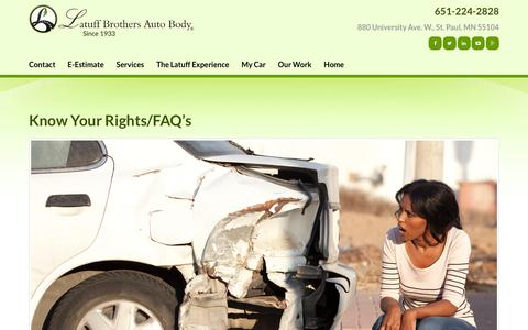 Screenshot of FAQ Page latuffbrothers.com - Know Your Rights/FAQ's | Latuff Brothers Auto Body - captured Jan. 26, 2016