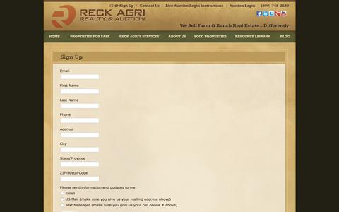 Screenshot of Signup Page reckagri.com - Farm and Land Auctions - Sign Up   Reck Agri Realty & Auction - captured Oct. 20, 2017
