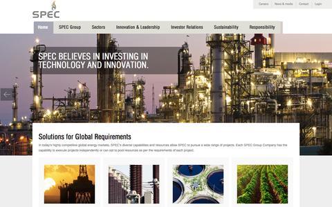 Screenshot of Home Page spec-pro.com - SPEC GROUP - captured Oct. 1, 2014