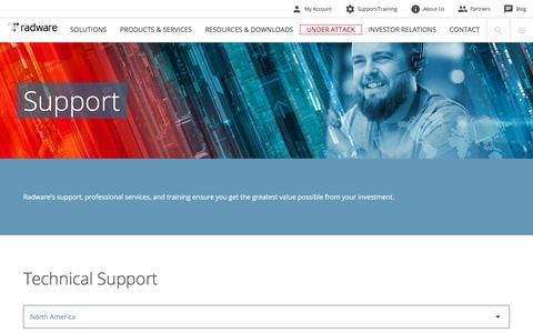 Screenshot of Support Page radware.com - Radware: Support - captured Aug. 9, 2018
