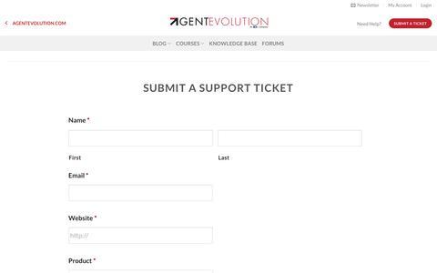 Screenshot of Support Page agentevolution.com - Support Ticket • Agent Evolution - captured July 29, 2018