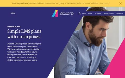 Screenshot of Pricing Page absorblms.com - LMS Pricing - Learning Management System Pricing   Absorb LMS - captured Feb. 18, 2018