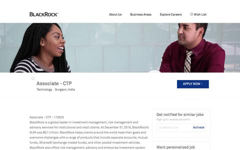 Screenshot of Jobs Page blackrock.com - Associate - CTP in Gurgaon, India | Technology at Blackrock - captured Sept. 26, 2017
