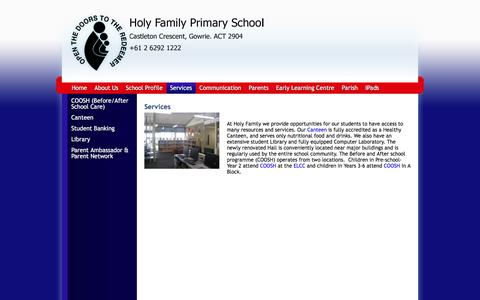 Screenshot of Services Page holyfamily.act.edu.au - Holy Family Primary School: Services - captured June 16, 2016