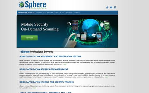 Screenshot of Services Page espheresecurity.com - Welcome to eSphere Security - captured Feb. 2, 2016
