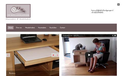 Screenshot of Home Page dehollandganger.nl - Houtsnijderij & Meubelmakerij De Hollandganger - captured Oct. 5, 2014