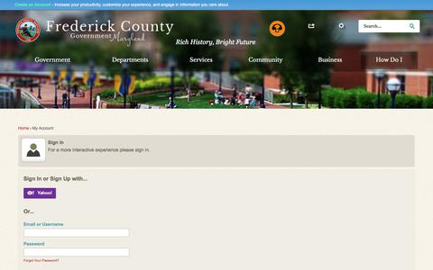 Screenshot of Login Page frederickcountymd.gov - Frederick County MD - Official Website - captured July 1, 2017