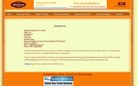 Screenshot of Contact Page epanchang.com - Auspicious time based on horoscope|Panchang Calendar - captured Nov. 2, 2014