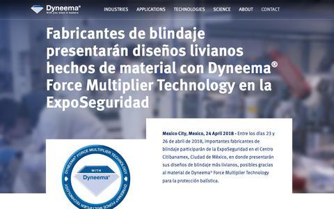 Screenshot of Press Page dsm.com - Fabricantes de blindaje presentarán diseños livianos hechos de material con  Dyneema® Force Multiplier Technology en la ExpoSeguridad - captured Jan. 1, 2019