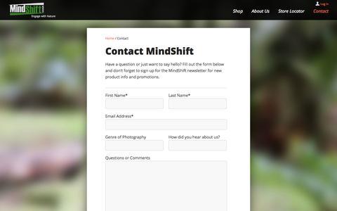 Screenshot of Contact Page mindshiftgear.com - Contact MindShift   MindShift Gear - captured Oct. 7, 2014