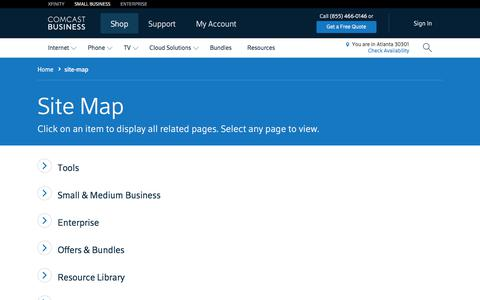 Screenshot of Site Map Page comcast.com - site-map - captured July 8, 2017