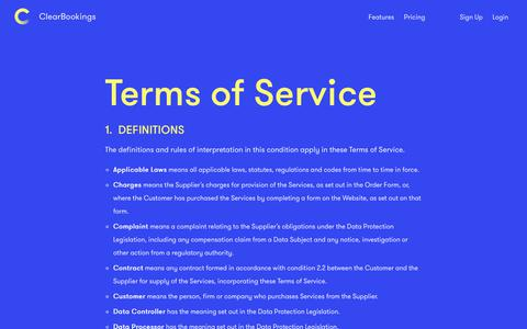 Screenshot of Terms Page clearbookings.com - ClearBookings | Terms of Service - captured Sept. 28, 2018