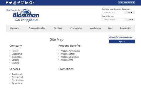 Screenshot of Site Map Page blossmangas.com - Site Map   Blossman Gas - captured Aug. 2, 2018