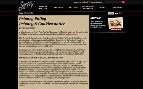 Screenshot of Privacy Page sailorjerry.com - Privacy Policy | Sailor Jerry - captured Sept. 23, 2014