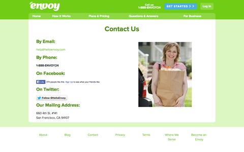 Screenshot of Contact Page helloenvoy.com - Envoy - Contact Us - captured Sept. 22, 2014