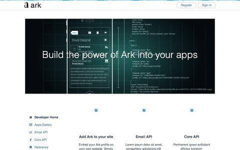 Screenshot of Developers Page ark.com - Ark - captured June 26, 2017
