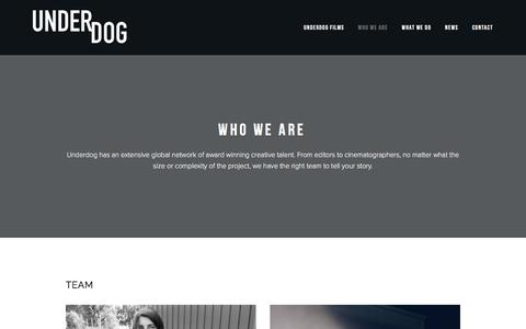 Screenshot of Team Page underdogfilms.com - WHO WE ARE — Underdog FIlms - captured May 10, 2017
