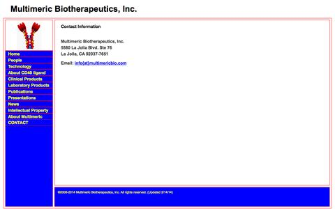 Screenshot of Contact Page multimericbio.com - Multimeric Biotherapeutics  ... Unlocking the potential of the TNF SuperFamily Ligands - captured Oct. 7, 2014