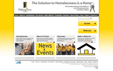 Screenshot of Home Page galwaysimon.ie - Galway Simon Community | Supporting the Homeless in the West of Ireland - captured Jan. 26, 2016