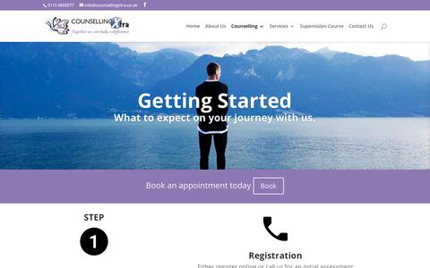 Screenshot of FAQ Page counsellingxtra.co.uk - Getting Started | Counselling Xtra - captured Sept. 29, 2018