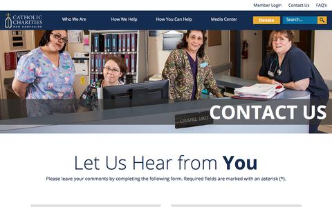Screenshot of Contact Page cc-nh.org - Contact Us - Catholic Charities New Hampshire - captured Feb. 1, 2018