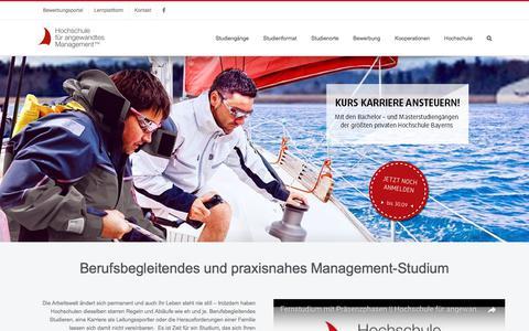 Screenshot of Home Page fham.de - HAM || Management Studium - berufsbegleitend und praxisnah. - captured Sept. 25, 2018