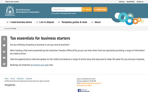 Screenshot of smallbusiness.wa.gov.au - Tax essentials for business starters | Small Business - captured March 9, 2017