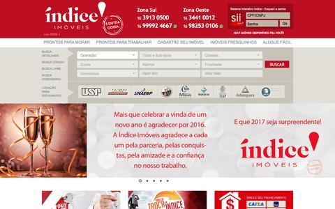 Screenshot of Home Page indiceimoveis.com.br - Imobiliária, Imóveis, Ribeirão Preto, Locação, Aluguel, Comprar, Casas - captured Dec. 24, 2016