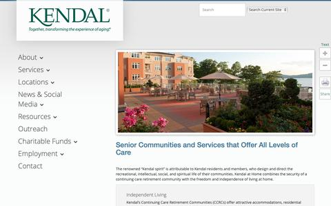 Screenshot of Services Page kendal.org - Senior Communities and Services - captured Sept. 27, 2018