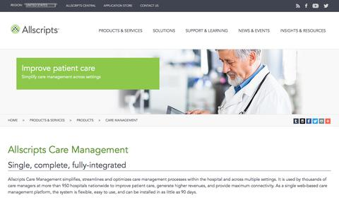 Screenshot of Products Page eclipsys.com - Allscripts Care Management - captured May 21, 2016