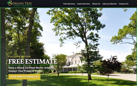 Screenshot of Home Page sterlingtree.com - Sterling Tree and Lawn Tree Service and Tree Spraying on Long Island, NY - captured Oct. 7, 2014